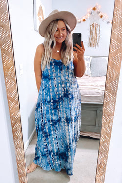 S / Teal Andrina Tie Dye Maxi Dress - Madison and Mallory