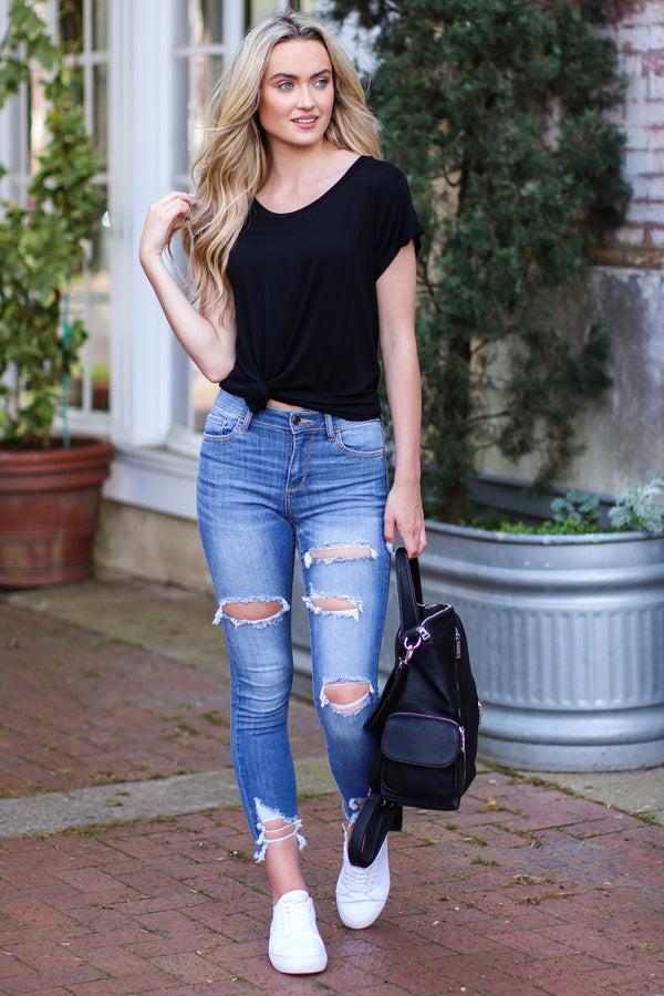 Black / S Kenzie Relaxed Fit Tee - Black - Madison and Mallory