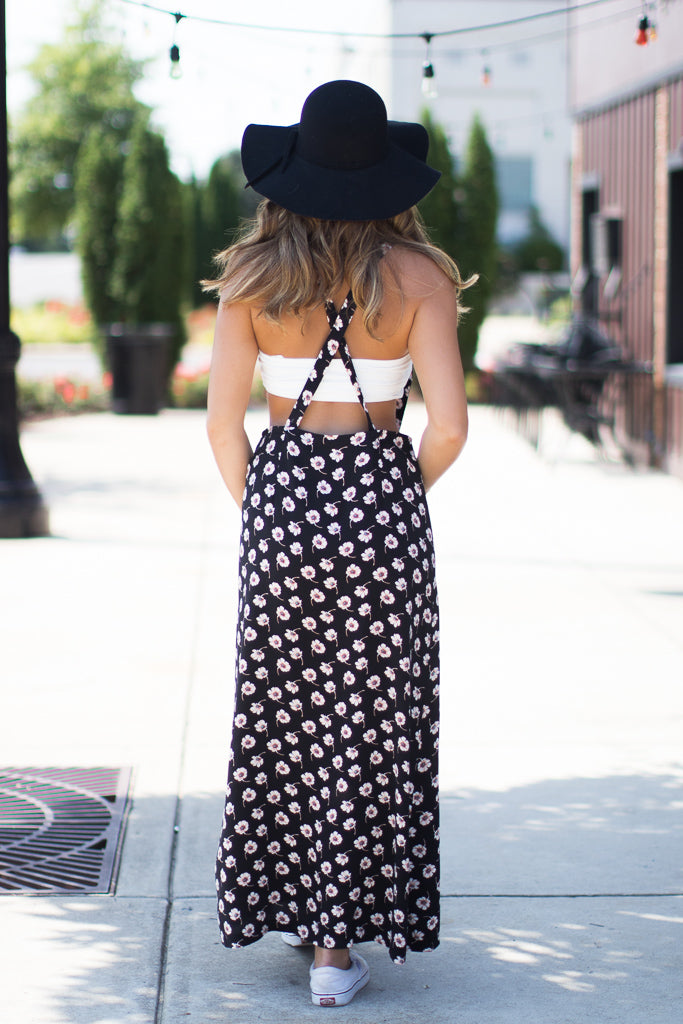 Floral Suspender Maxi Skirt - Madison + Mallory