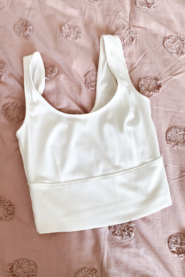 Kayden Ribbed Knit Bra Top - Off White - Madison and Mallory