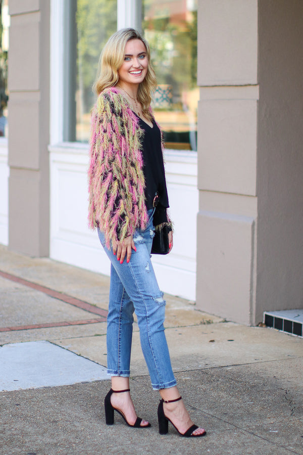 For the Glam Multi Color Fringe Cardigan- FINAL SALE - Madison and Mallory