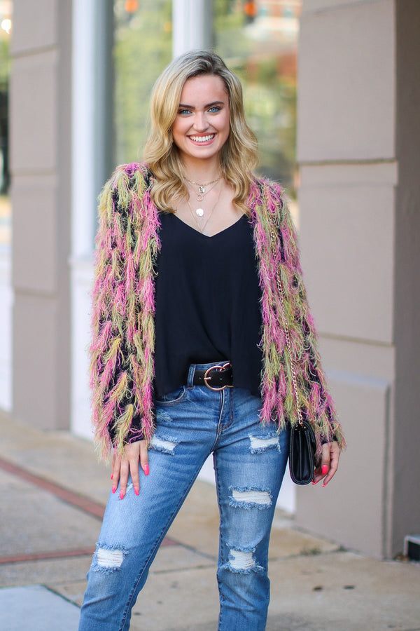 SM / Pink For the Glam Multi Color Fringe Cardigan- FINAL SALE - Madison and Mallory