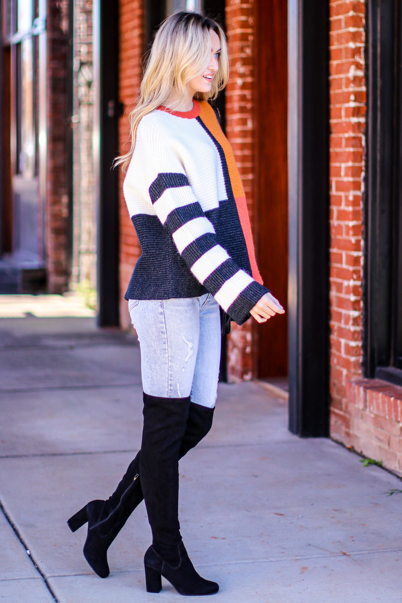 Redwoods Color Block Striped Sweater - Madison and Mallory