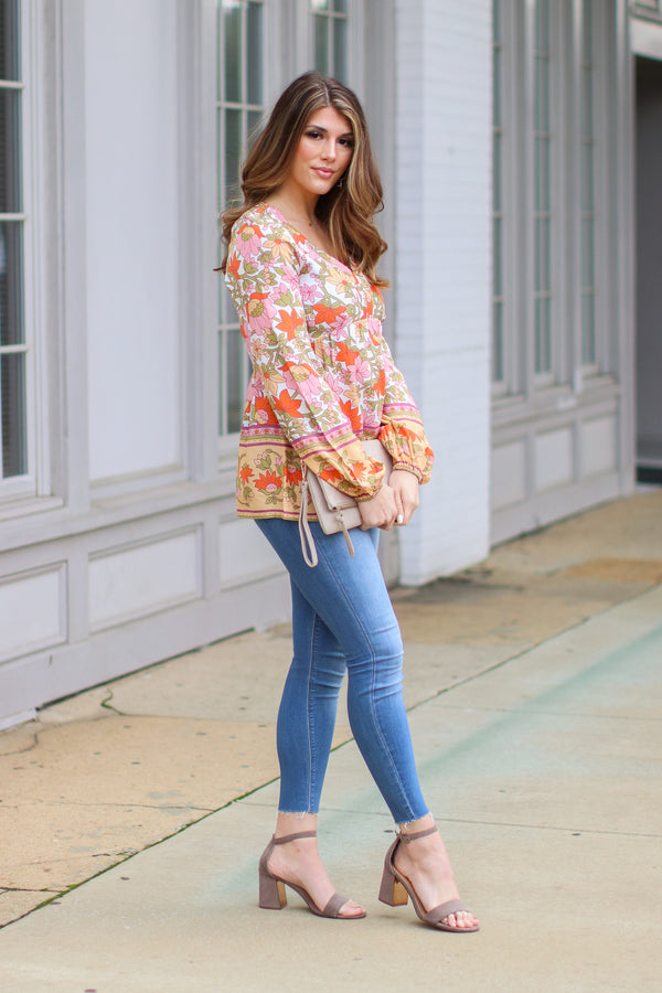 Pomander Floral Peasant Top - Madison and Mallory