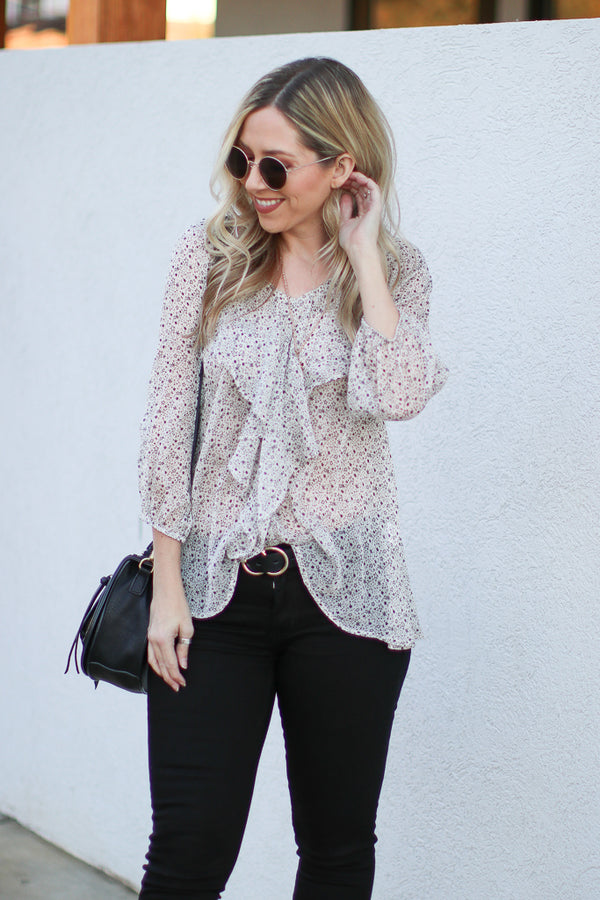 S / White Star Fall Printed Chiffon Top - Madison + Mallory