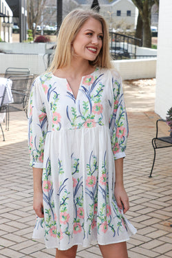 S / Off White Embroidered Floral Dress | CURVE - Madison + Mallory