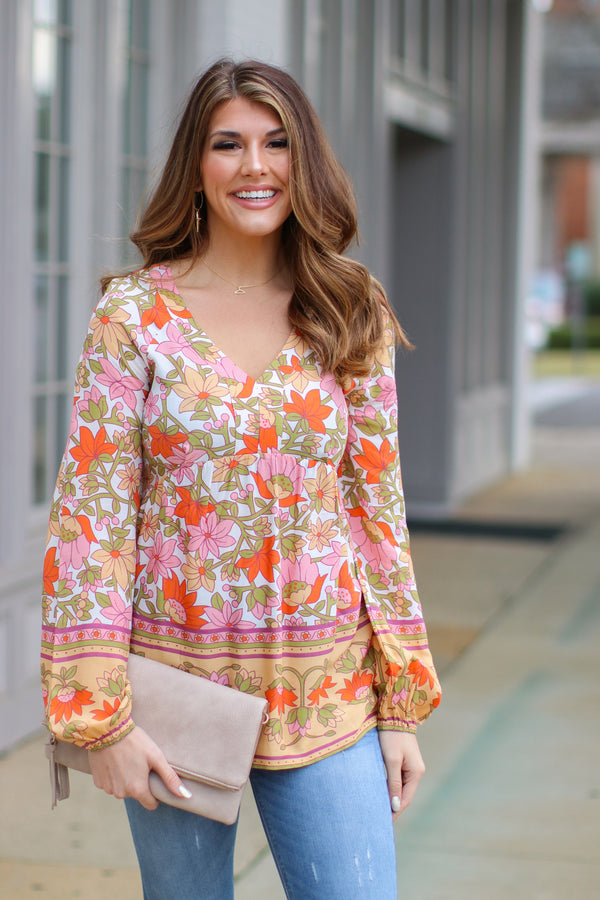 S / White Combo Pomander Floral Peasant Top - Madison and Mallory
