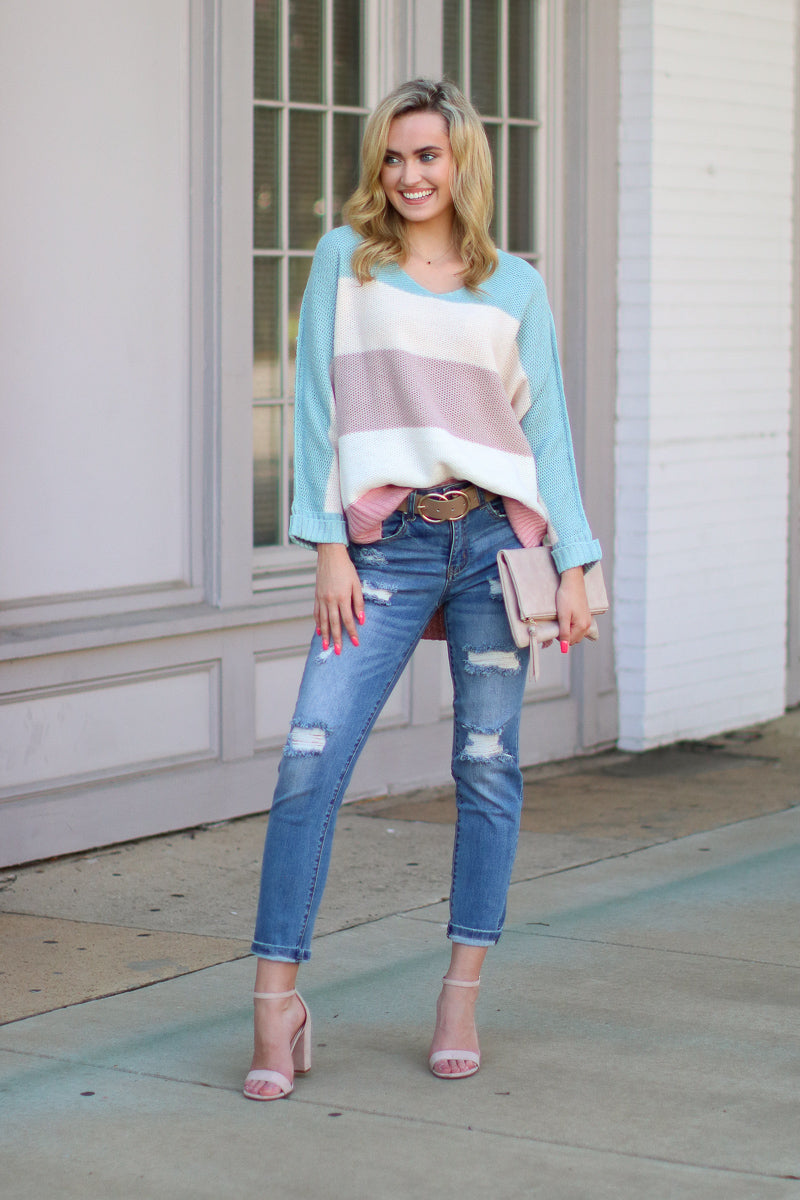Jaxon Multi Color Knit Sweater - Madison + Mallory