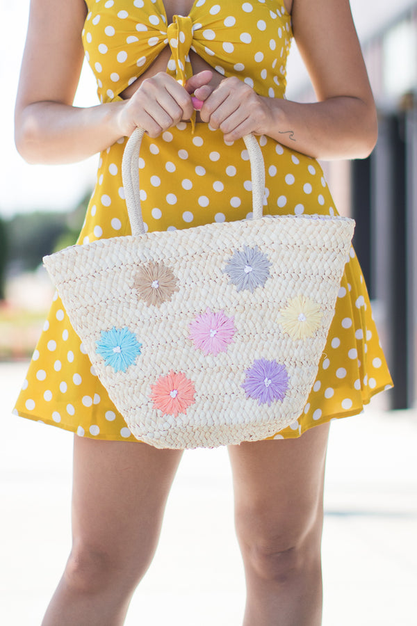 Woven Flower Straw Tote - Madison + Mallory
