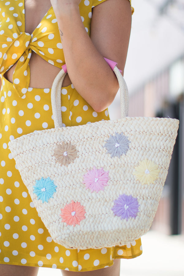 OS / Multi Woven Flower Straw Tote - Madison + Mallory