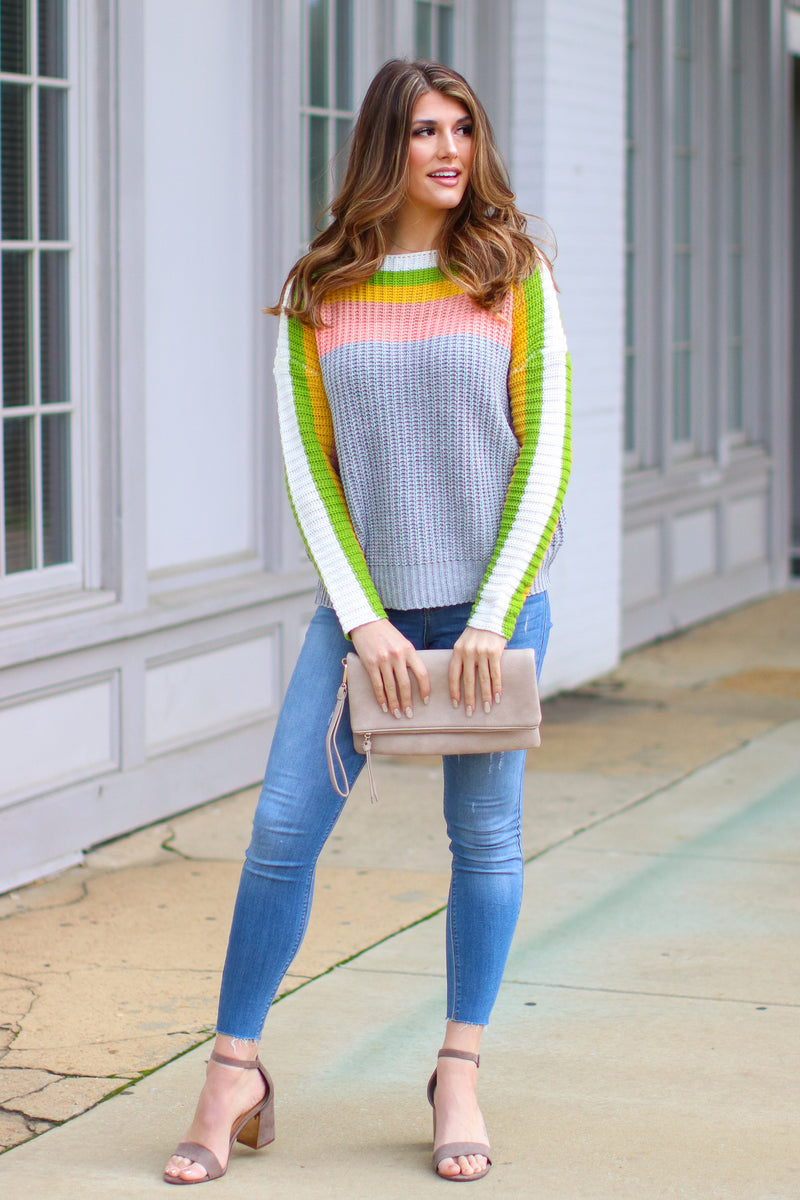 Think Twice Multi Color Striped Sweater- FINAL SALE - Madison and Mallory