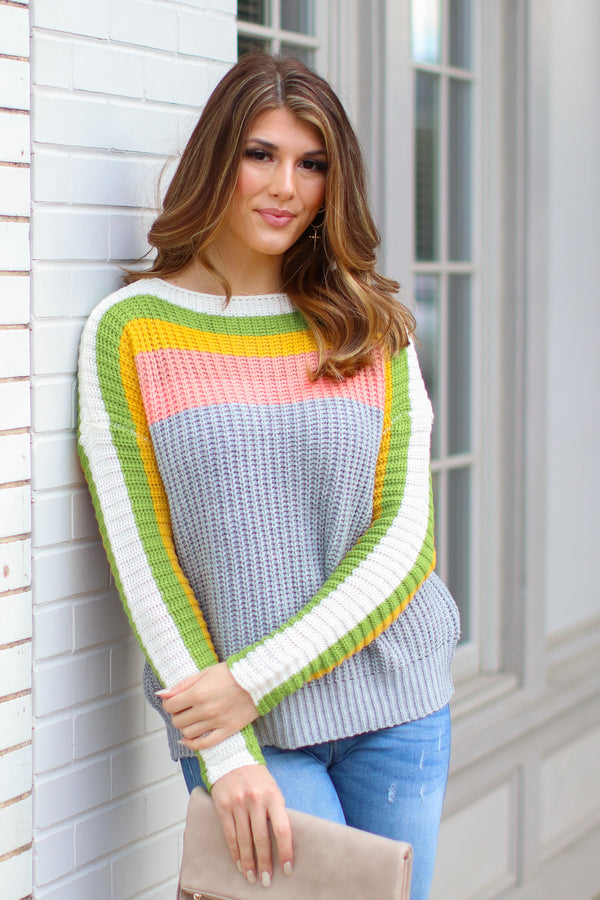 S / Gray Think Twice Multi Color Striped Sweater - Madison + Mallory
