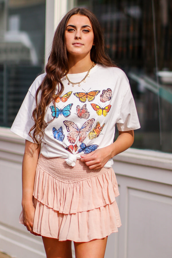 S / Ivory Taking Flight Vintage Butterfly Graphic Top - Madison and Mallory