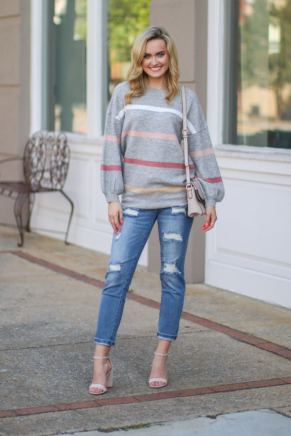 Shaelyn Striped Balloon Sleeve Sweater | S-3X - Madison + Mallory