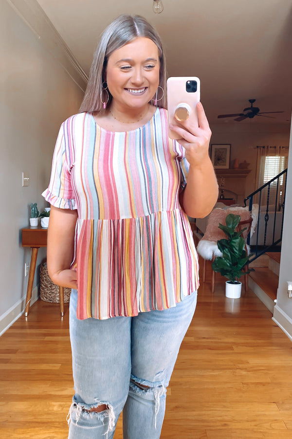 S / Multi Made for This Striped Babydoll Top | CURVE - FINAL SALE - Madison and Mallory