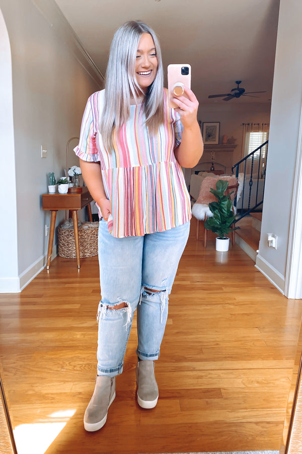 Made for This Striped Babydoll Top | CURVE - FINAL SALE - Madison and Mallory