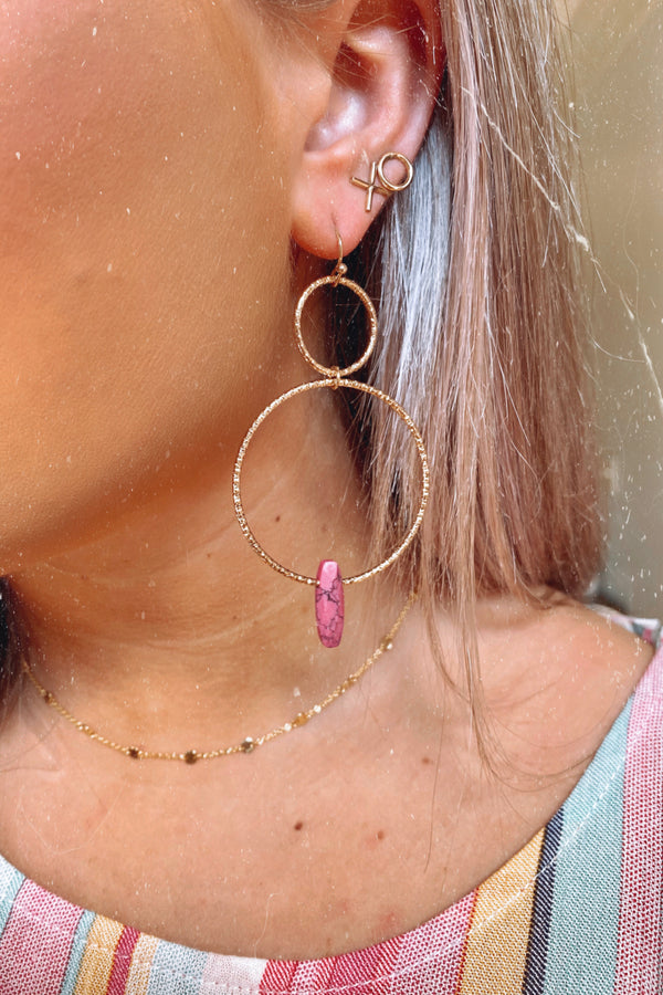 Pink Age of Exploration Stone Drop Circle Earrings - Madison and Mallory