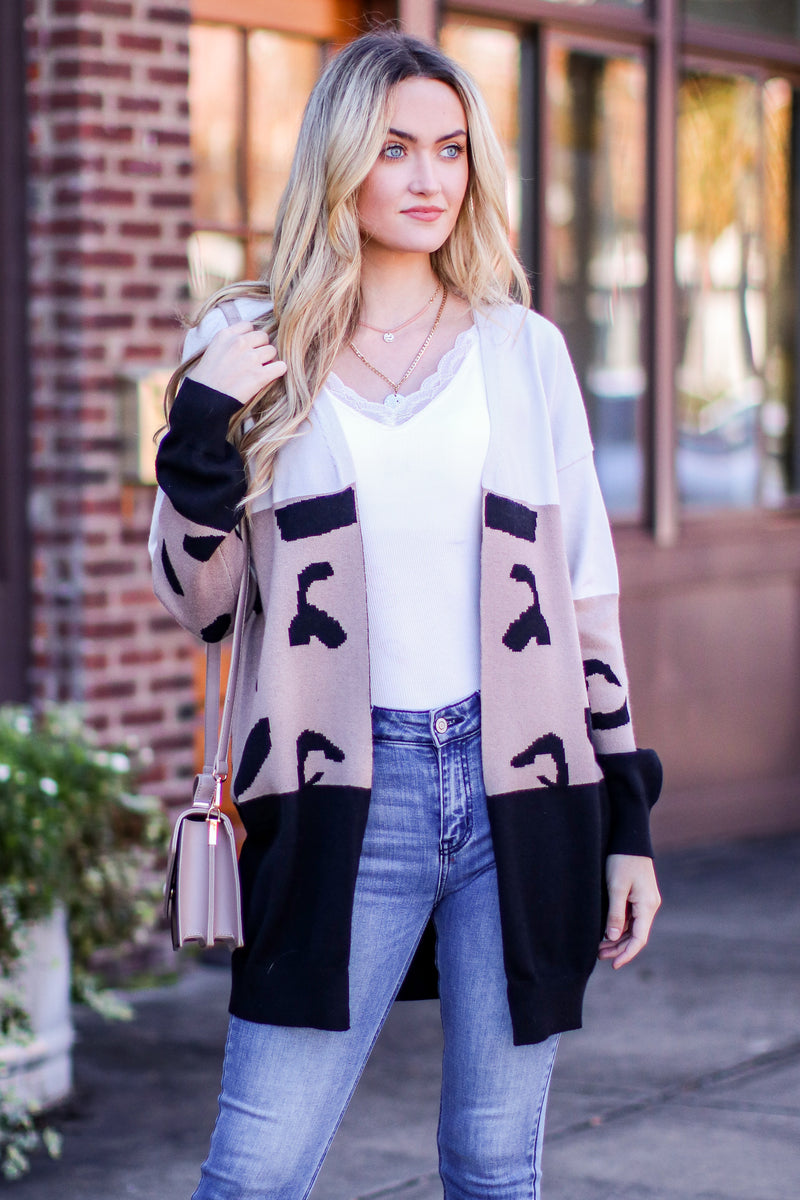 Mocha / S Rove Color Block Abstract Cardigan - Madison and Mallory