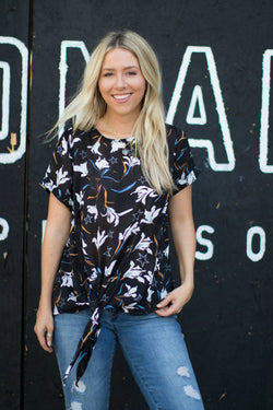 S / Black Floral and Stars Tie Front Top - Madison + Mallory