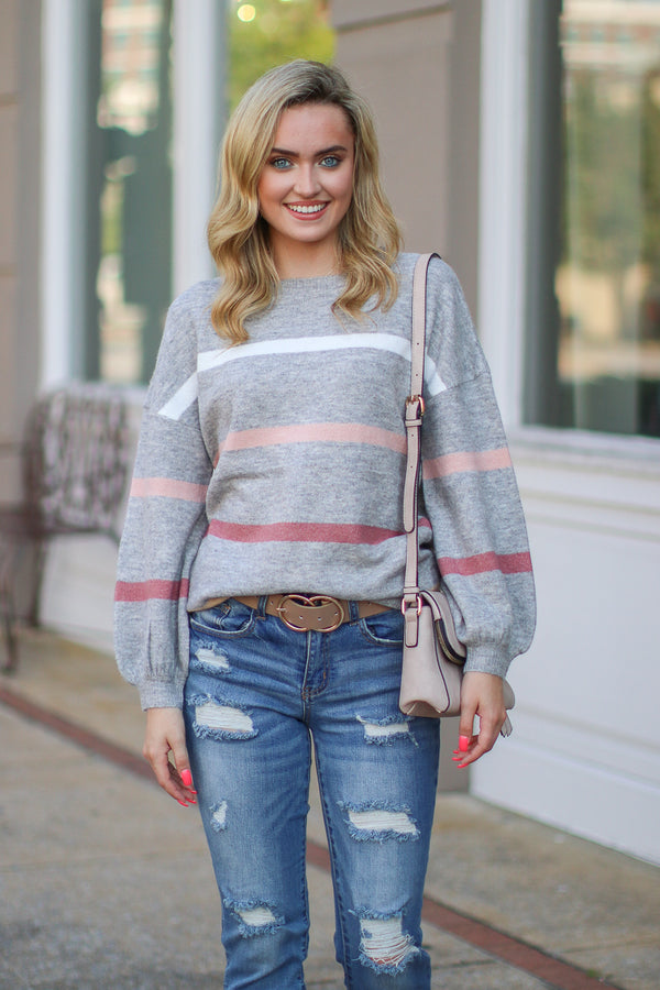 S / Gray Shaelyn Striped Balloon Sleeve Sweater | S-3X - Madison + Mallory