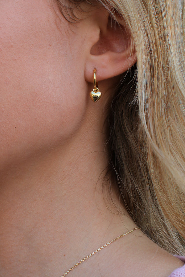 Gold Make You Mine Heart Hoop Earrings - Madison + Mallory