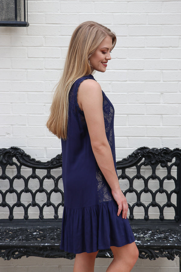 Lace Detail Ruffle Hem Dress - FINAL SALE - Madison and Mallory