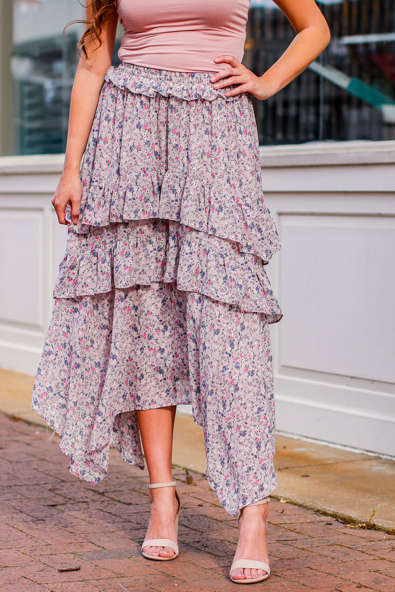 S / Dusty Lavender Melody Garden Floral Maxi Skirt - Madison and Mallory