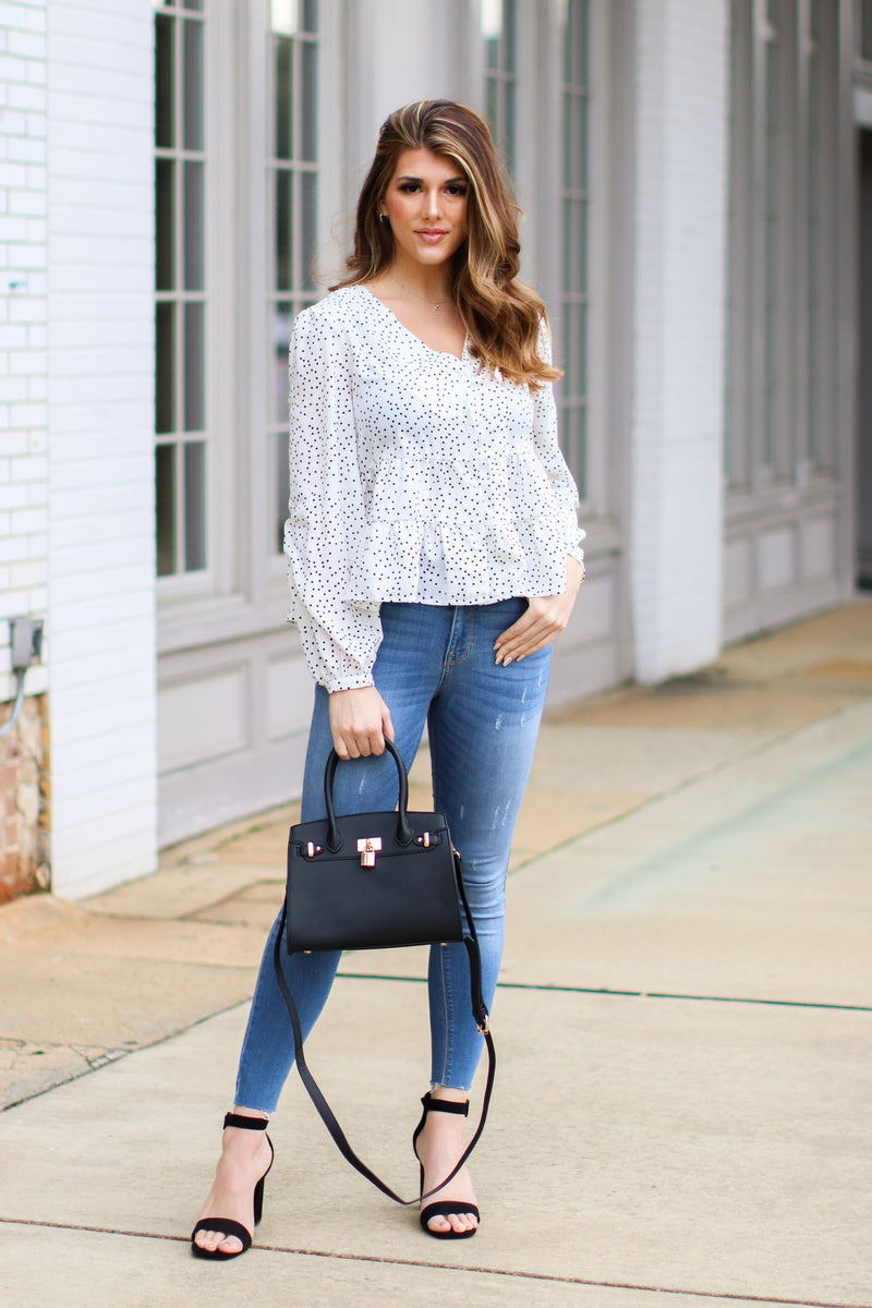 Hopelyn Polka Dot Tiered Top - Ivory - Madison and Mallory