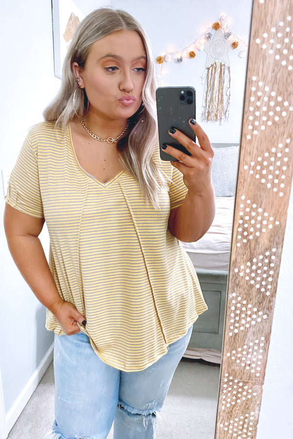Honey / S Looking Ahead Striped V-Neck Top - Honey - Madison and Mallory