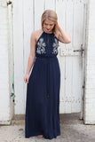Embroidered Navy Halter Dress