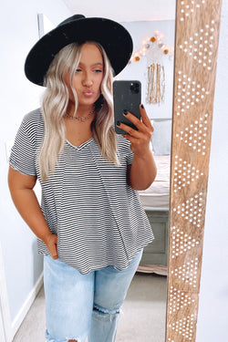 Black / S Looking Ahead Striped V-Neck Top - Black - Madison and Mallory