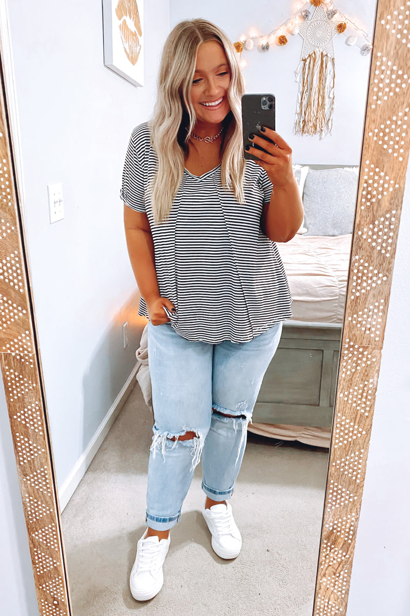 Looking Ahead Striped V-Neck Top - Black - Madison and Mallory