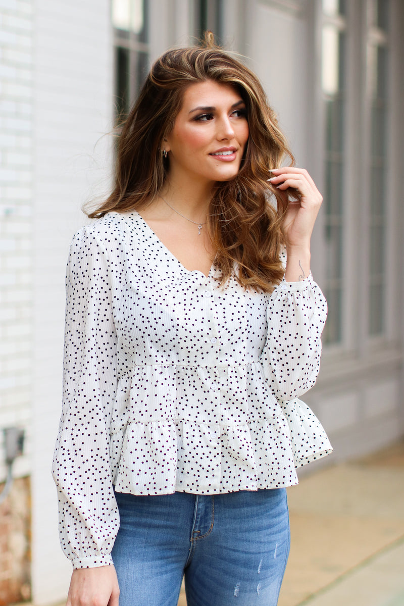Ivory / S Hopelyn Polka Dot Tiered Top - Ivory - Madison and Mallory