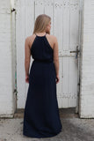 Embroidered Navy Halter Dress - Madison + Mallory