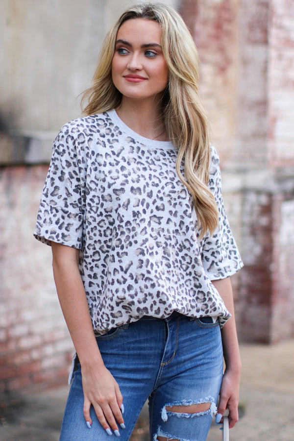 S / Heather Gray Copiah Animal Print Top - Madison and Mallory