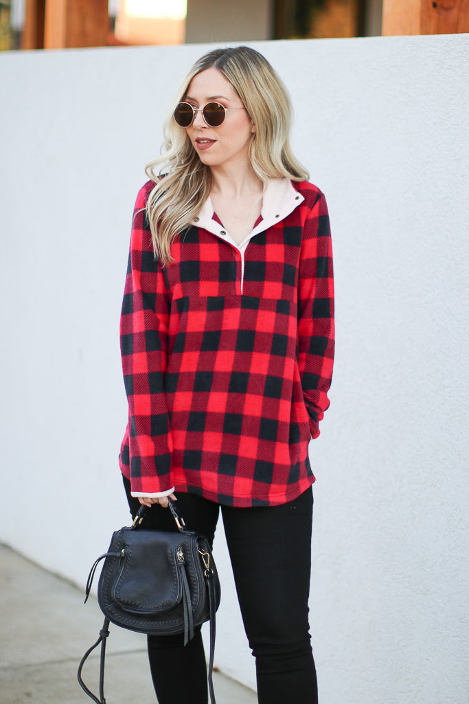 S / Red Present in Plaid Pullover - Madison + Mallory