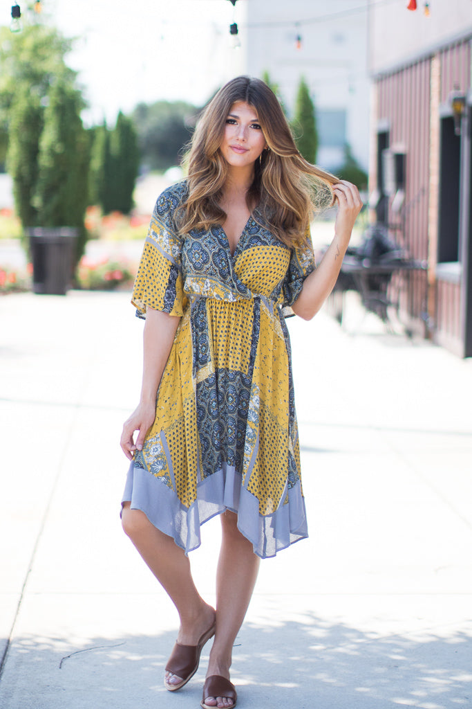 S / Mustard Watch Her Go Bandana Dress | CURVE - FINAL SALE - Madison + Mallory