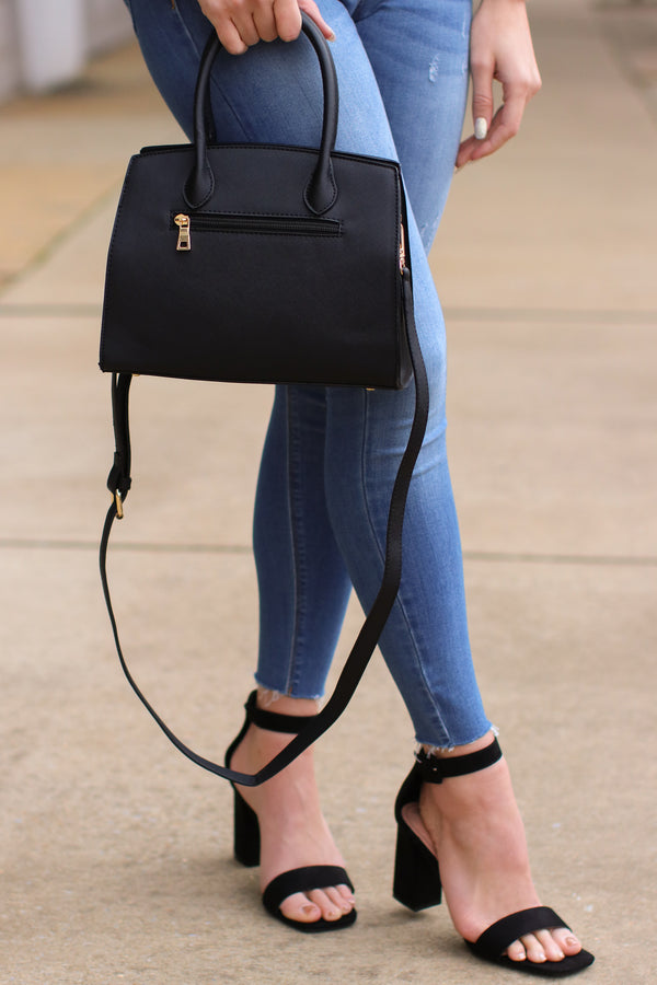 First Impression Faux Leather Lock Satchel - Black - Madison + Mallory