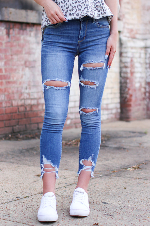 1 / MD. Denim Keyton Distressed Skinny Jeans - Madison and Mallory