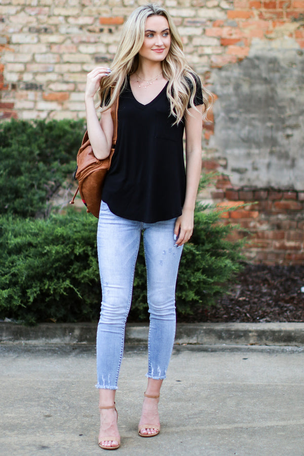 Well-Timed Basic V Neck Top - Black - Madison and Mallory