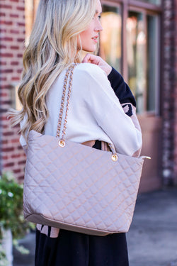 Taupe Chic Street Quilted Shopper Bag and Wallet Set - Madison and Mallory