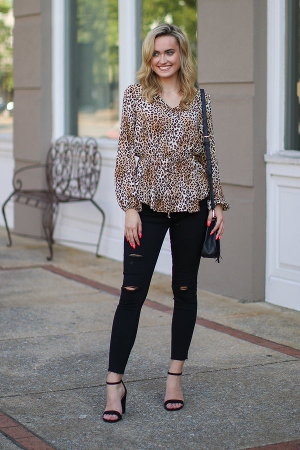 Purrfect Leopard Print Top - Madison + Mallory