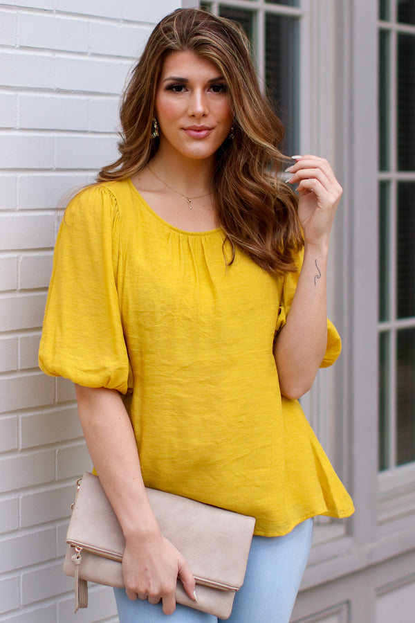 Mustard / S Kismet Balloon Sleeve Shirred Top - Mustard - FINAL SALE - Madison and Mallory