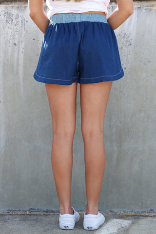 Contrast Denim Shorts