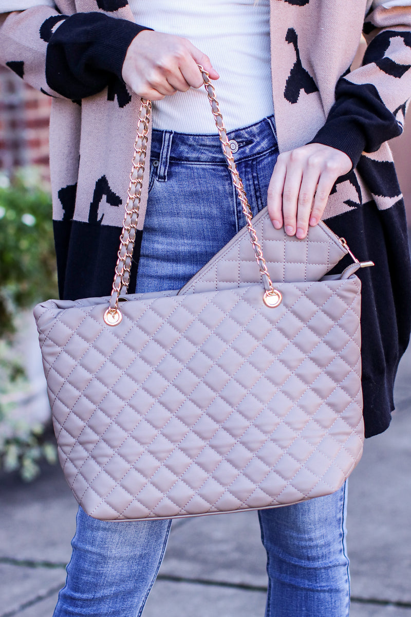 Chic Street Quilted Shopper Bag and Wallet Set - Madison and Mallory