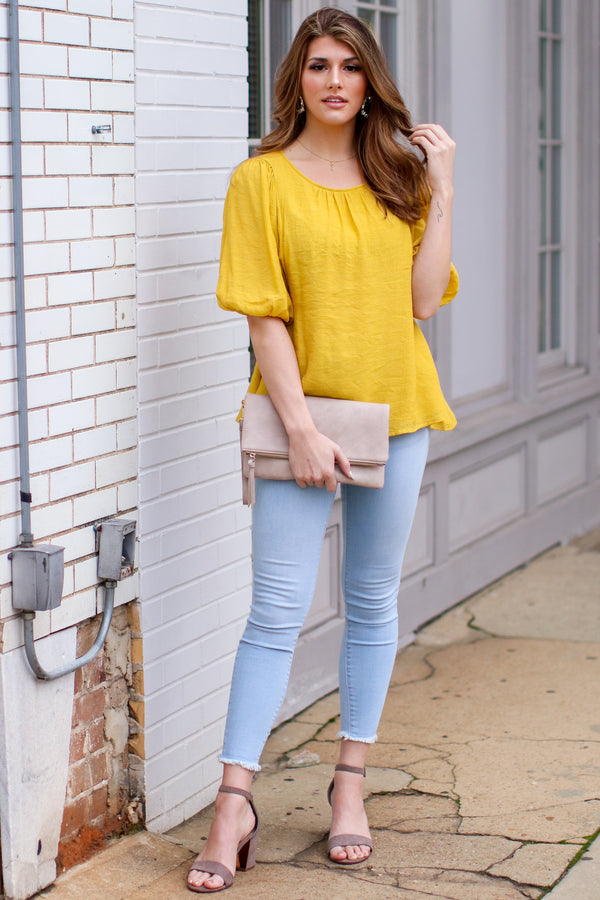 Kismet Balloon Sleeve Shirred Top - Mustard - FINAL SALE - Madison and Mallory
