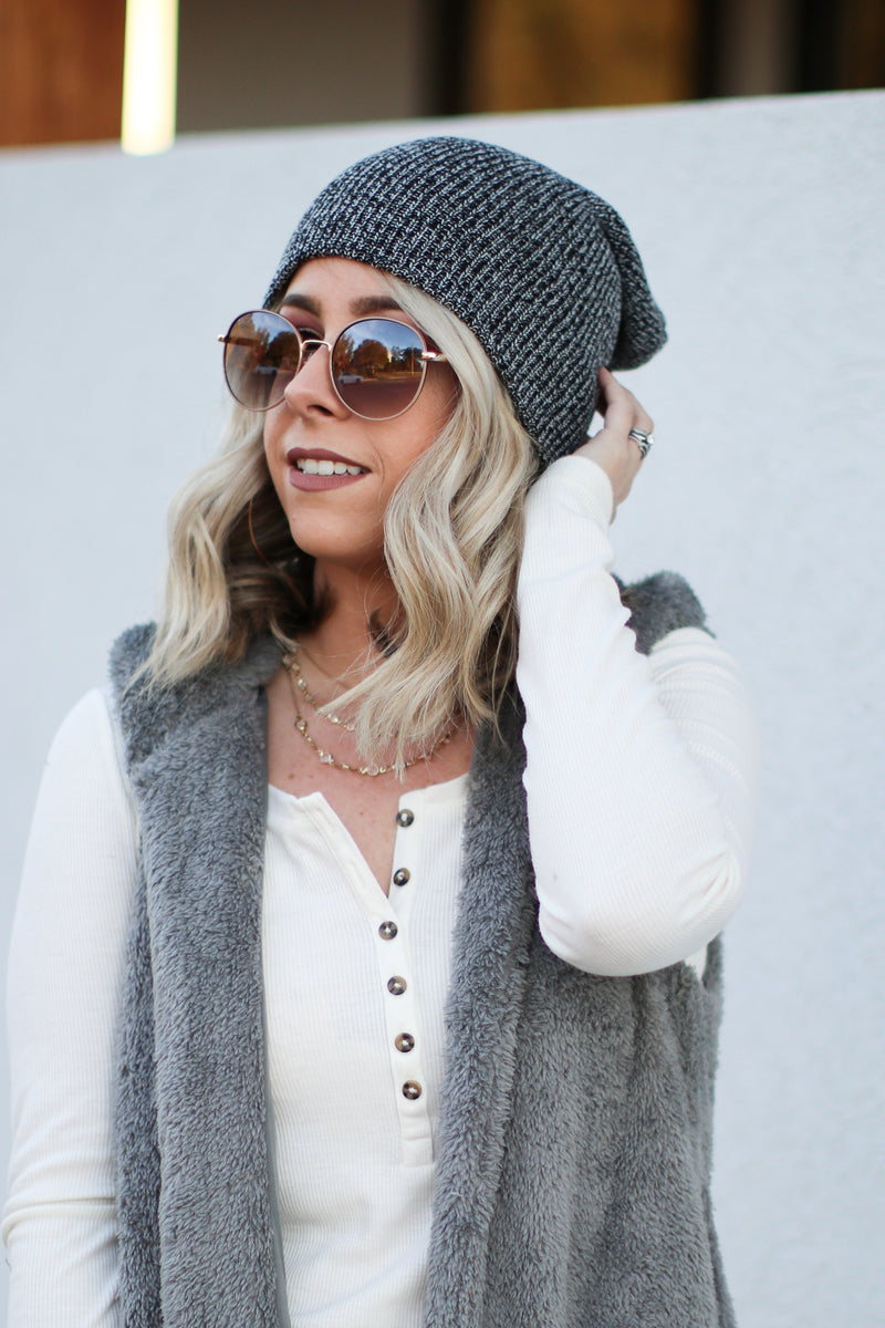 Day in the Snow Knit Beanie - Oatmeal - FINAL SALE - Madison + Mallory