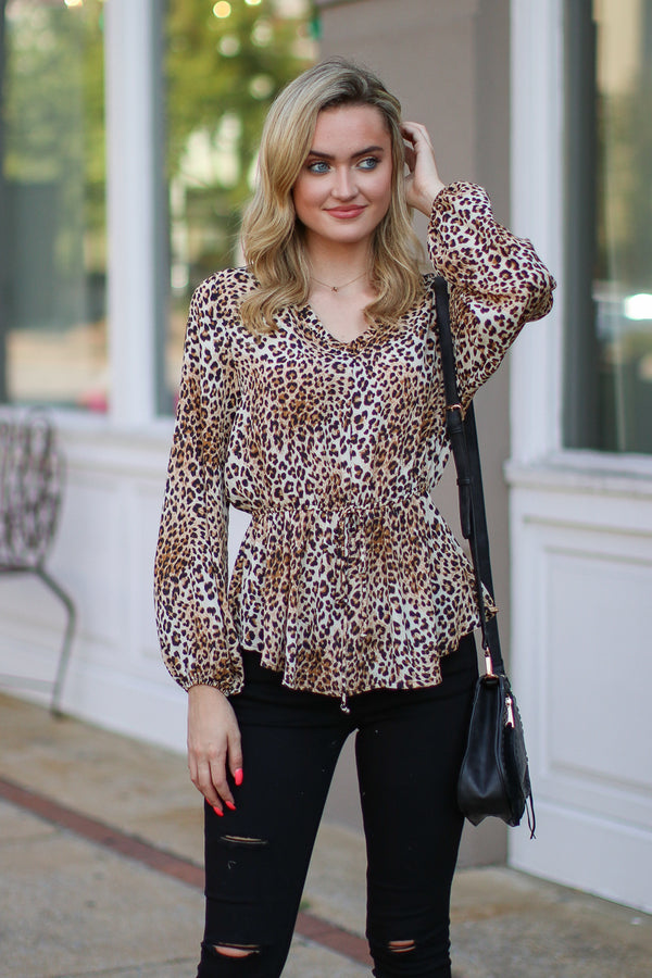 S / Leopard Purrfect Leopard Print Top - FINAL SALE - Madison + Mallory