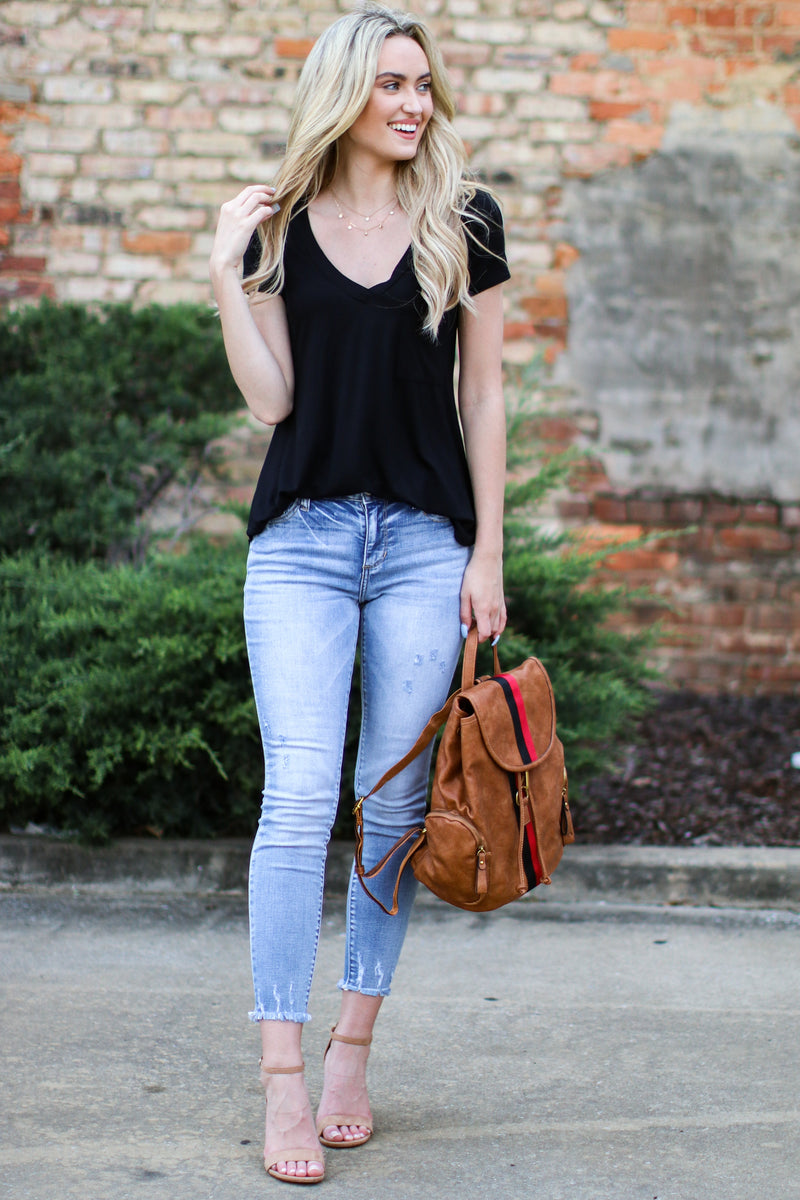 Well-Timed Basic V Neck Top - Black | CURVE - Madison and Mallory