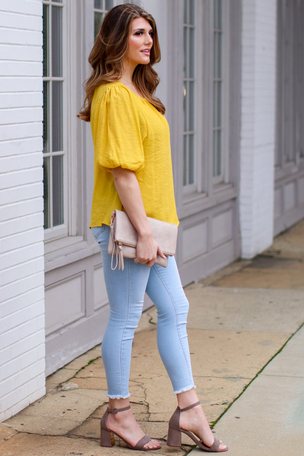 Kismet Balloon Sleeve Shirred Top - Mustard - Madison + Mallory